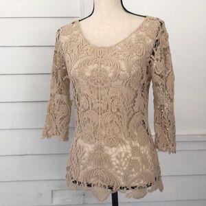 5/$20 Adiva S Beige Crochet Knit Top 3/4 Sleeve